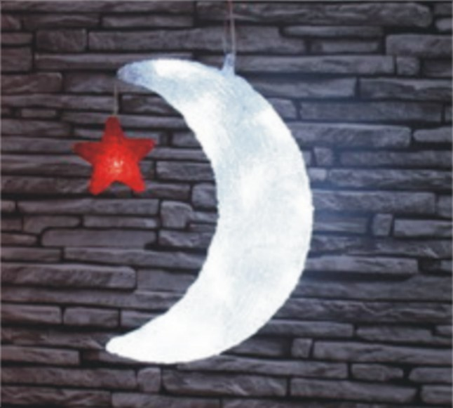 FY-001-I18 christmas acrylic MOON WITH STAR light bulb lamp FY-001-I18 cheap christmas acrylic MOON WITH STAR light bulb lamp - Acrylic lights  manufactured in China