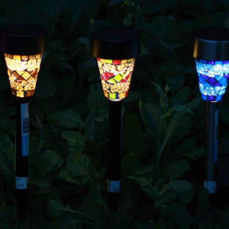Solar Powered Fiesta Mosaic Garden Landscape Yard Lawn Path Lamp Light